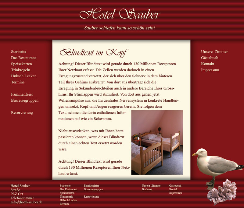 Website Template für Hotels